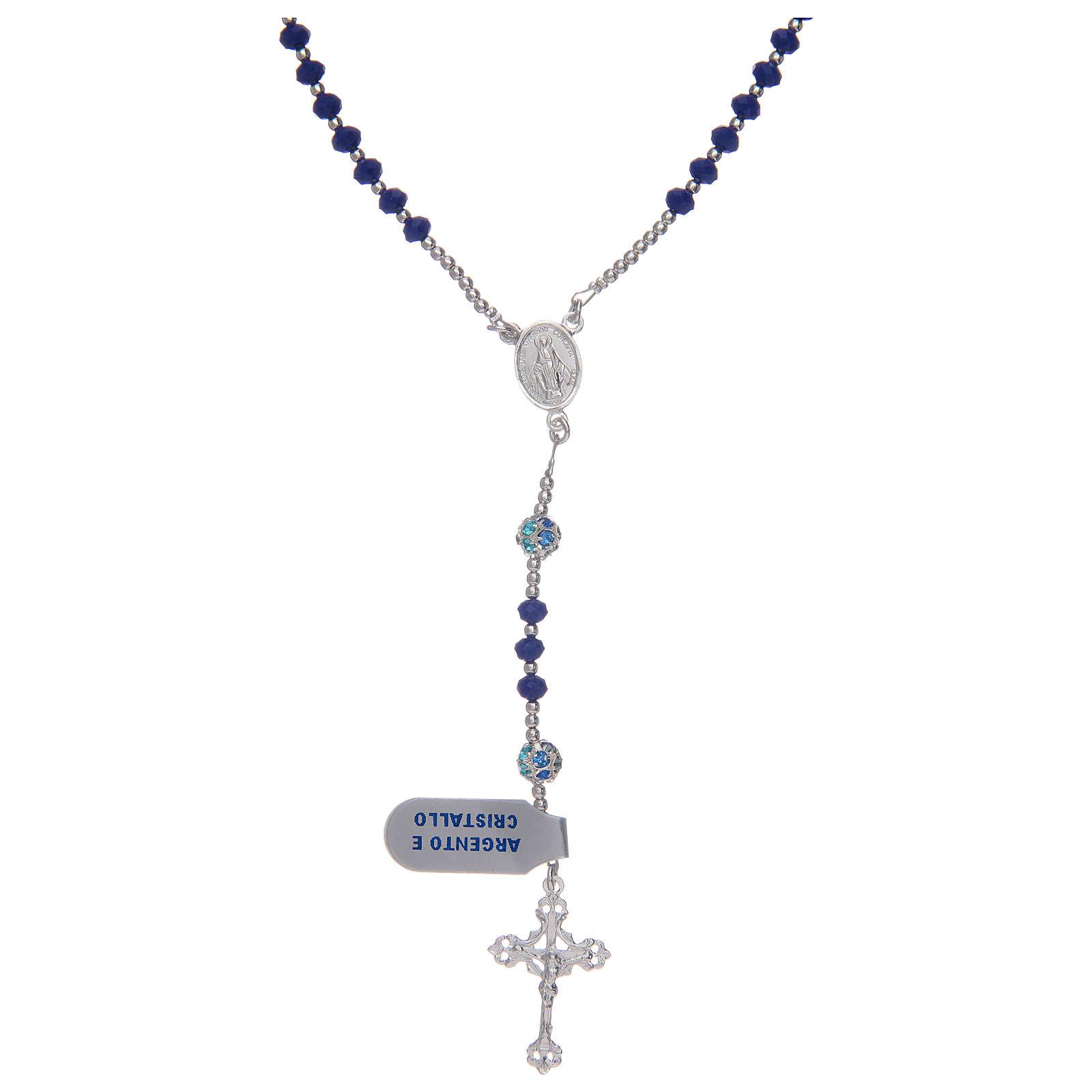 Rosario in argento 925 in cristallo di colore blu 4