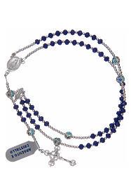 Rosario in argento 800 in cristallo di colore blu s3
