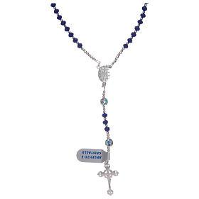 Rosario in argento 925 in cristallo di colore blu s2