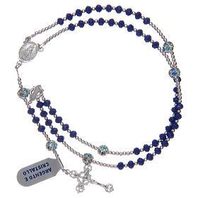 Rosario in argento 925 in cristallo di colore blu s3