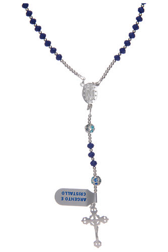 Rosario in argento 800 in cristallo di colore blu 2