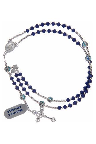 Rosario in argento 800 in cristallo di colore blu 3
