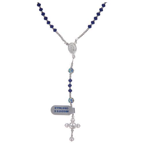 Rosario in argento 925 in cristallo di colore blu 1