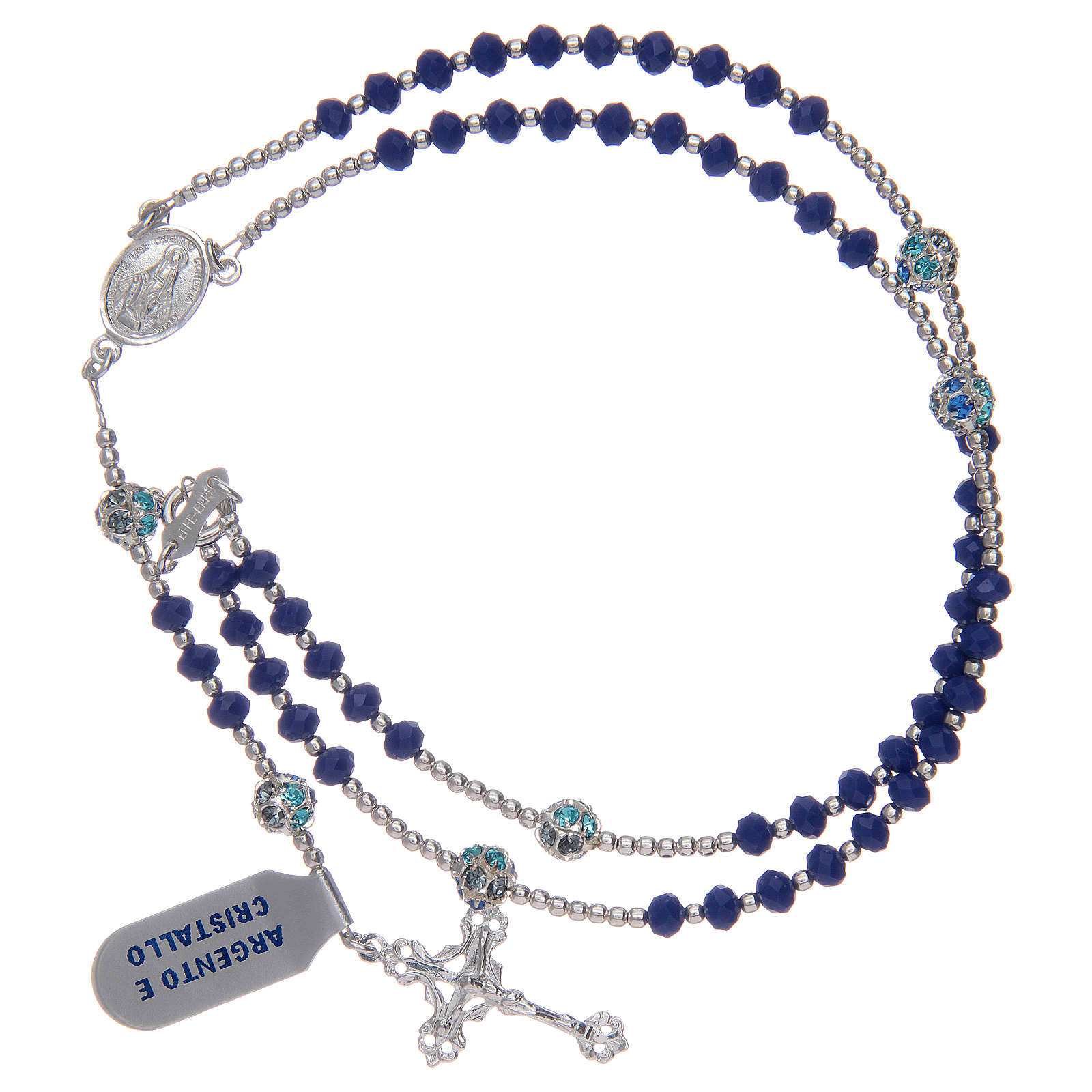 Rosary in 800 sterling silver and blue crystal 4