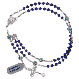 Rosary in 800 sterling silver and blue crystal s3