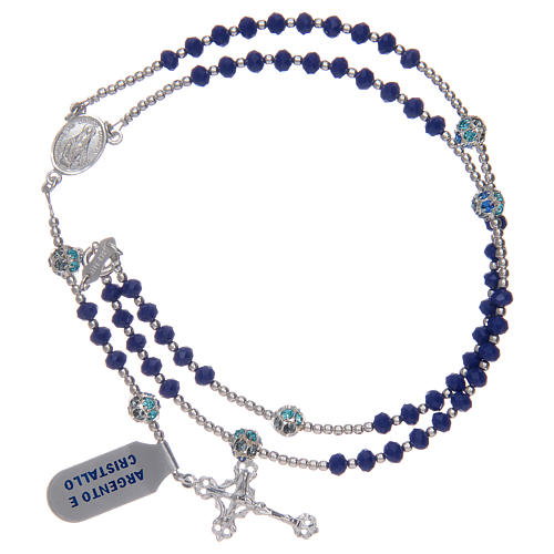 Rosary in 800 sterling silver and blue crystal 3
