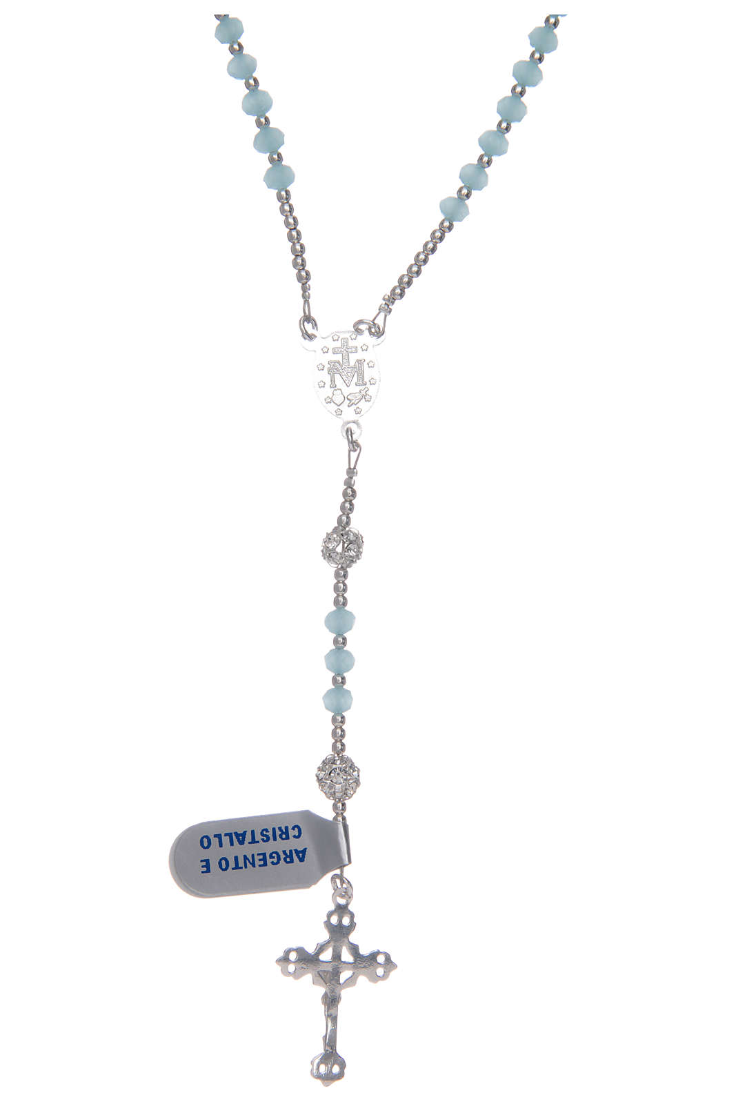 Rosario da collo in cristallo celeste in argento 800 4