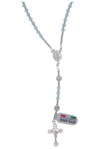 Rosario da collo in cristallo celeste in argento 800 1