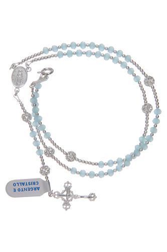 Rosario da collo in cristallo celeste in argento 800 3