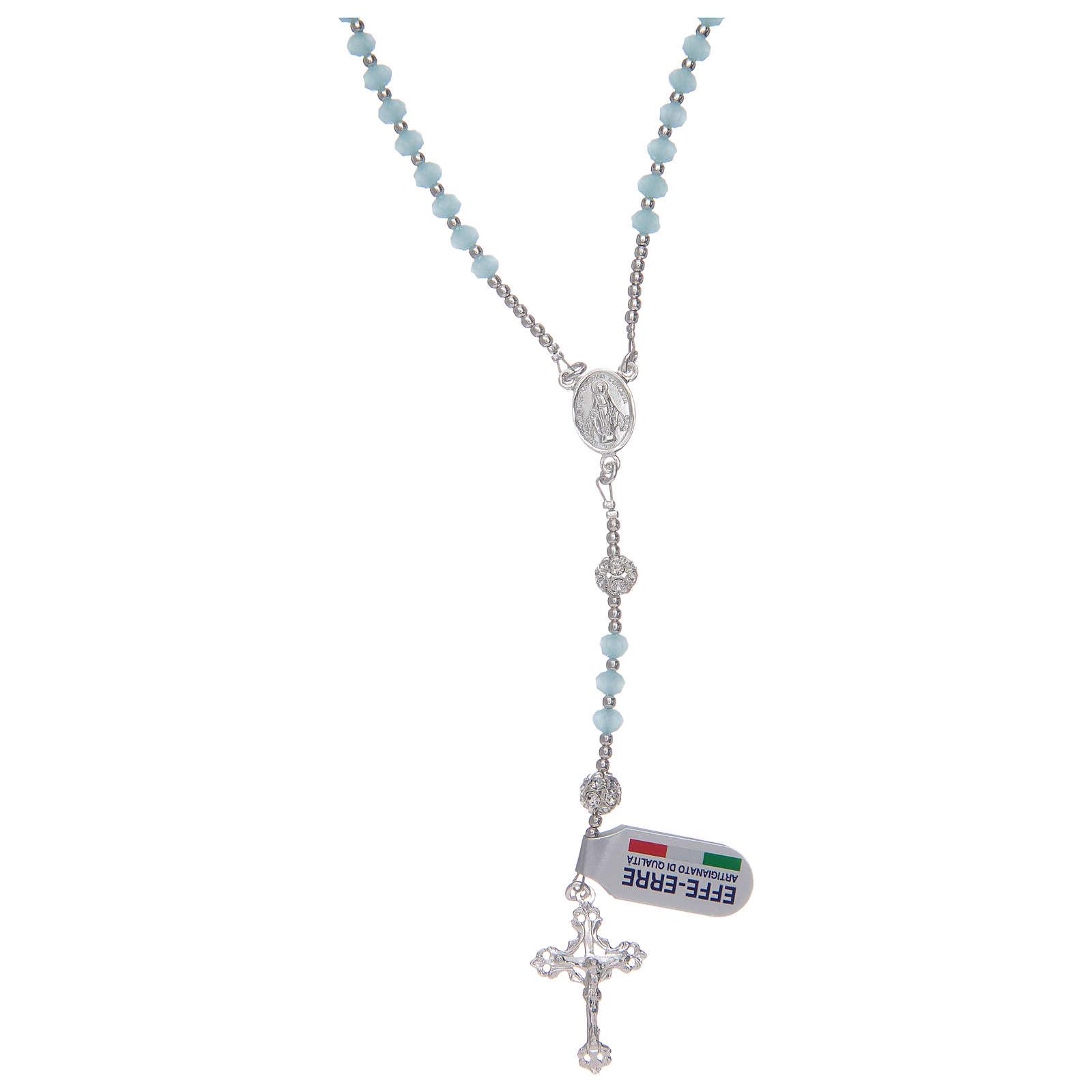Różaniec na szyję z kryształu błękitnego ze srebra 800 4