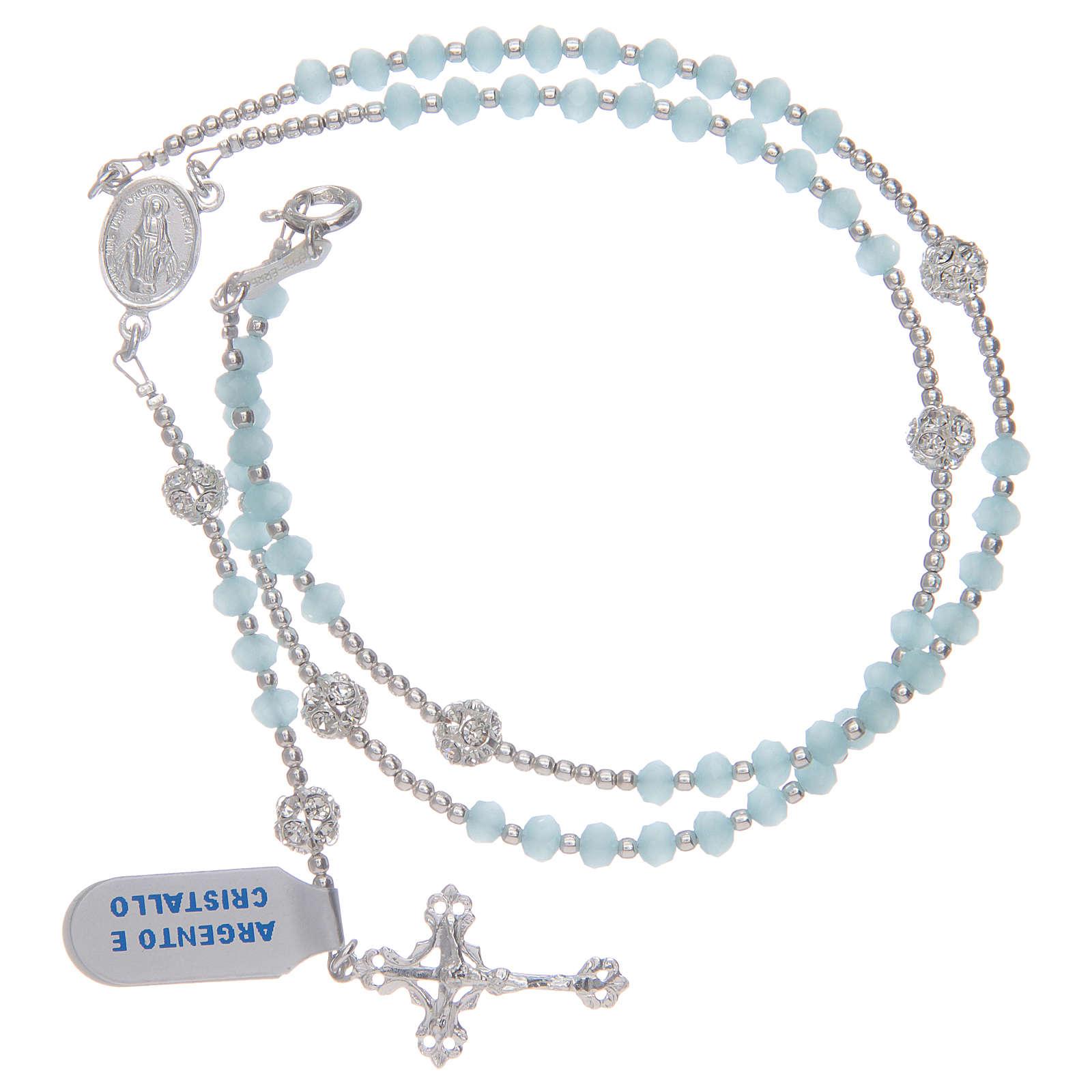 Terço colar em cristal azul-celeste em prata 800 4