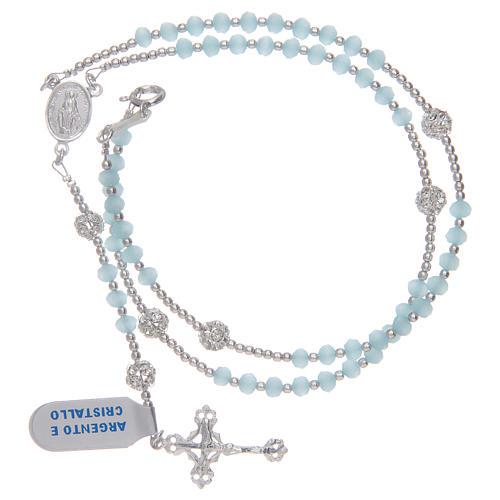 Terço colar em cristal azul-celeste em prata 800 3