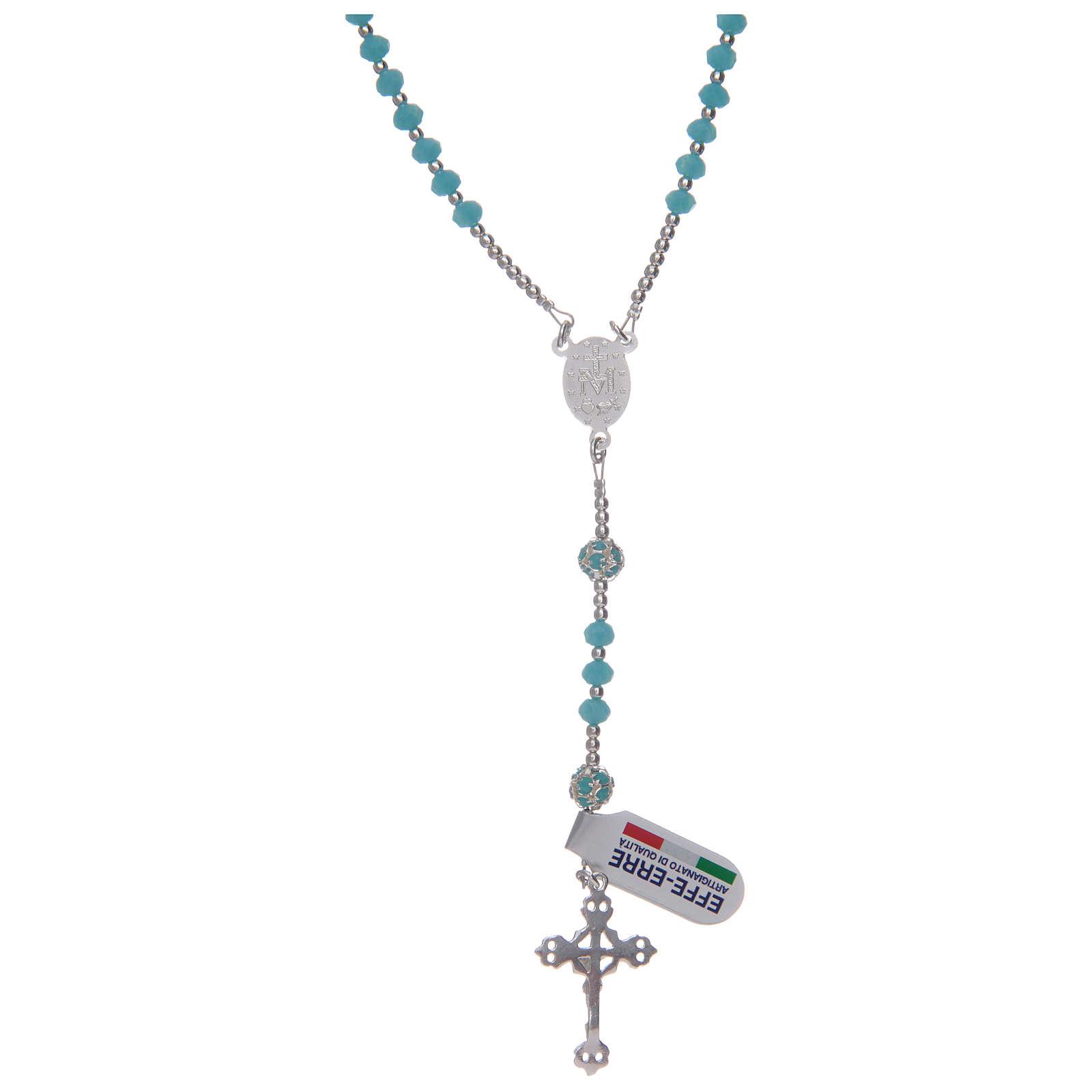 Rosario in cristallo celeste in argento 800 4