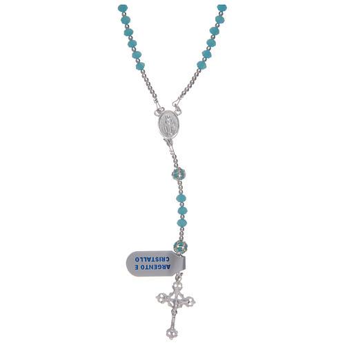 Rosario in cristallo celeste in argento 800 1
