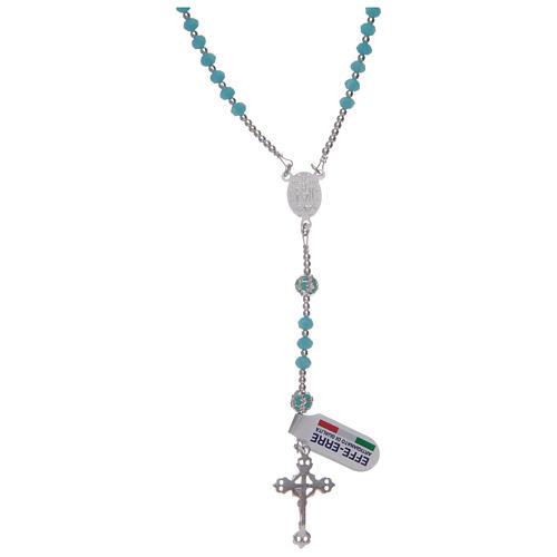 Rosario in cristallo celeste in argento 800 2