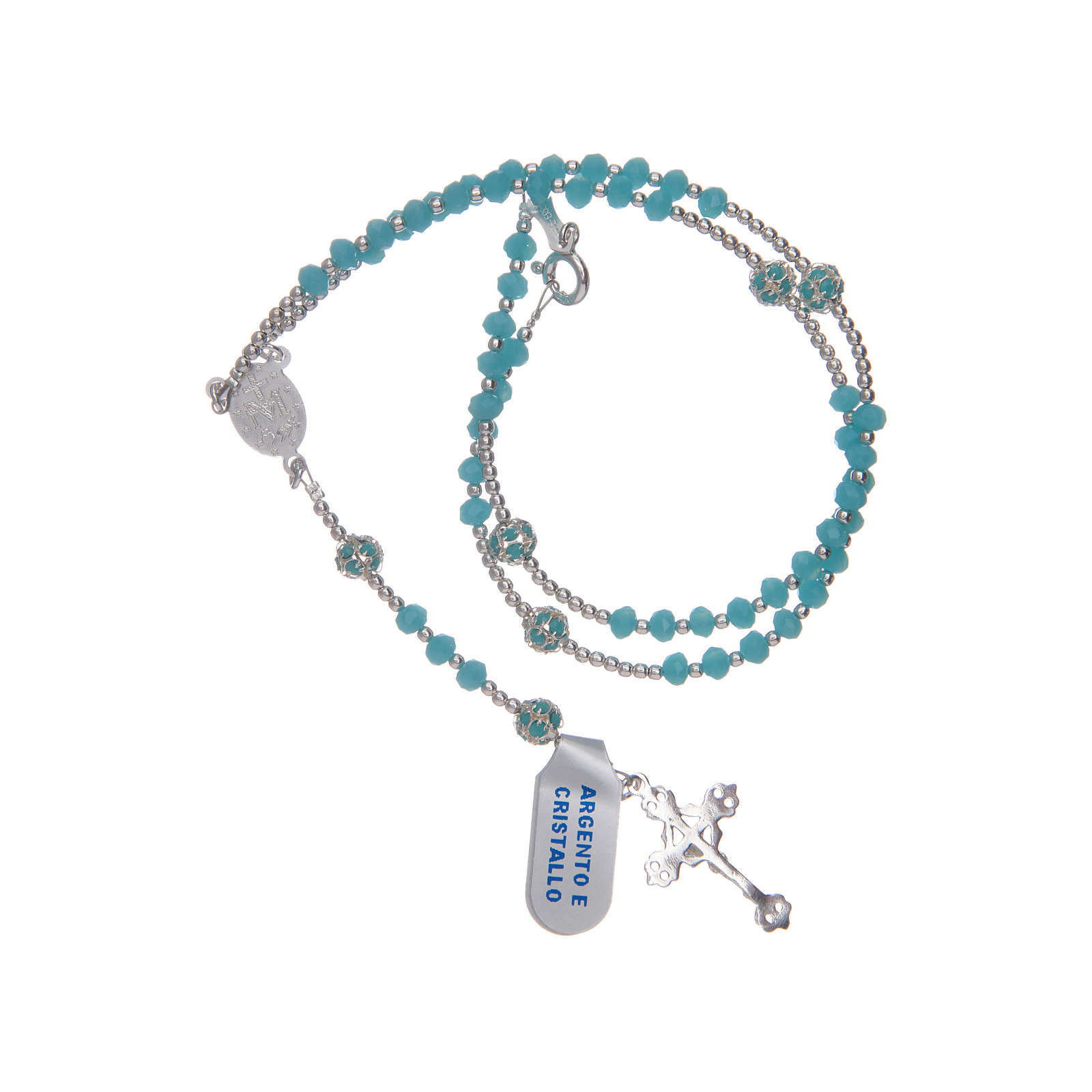 Rosary in sky blue crystal and 800 sterling silver 4