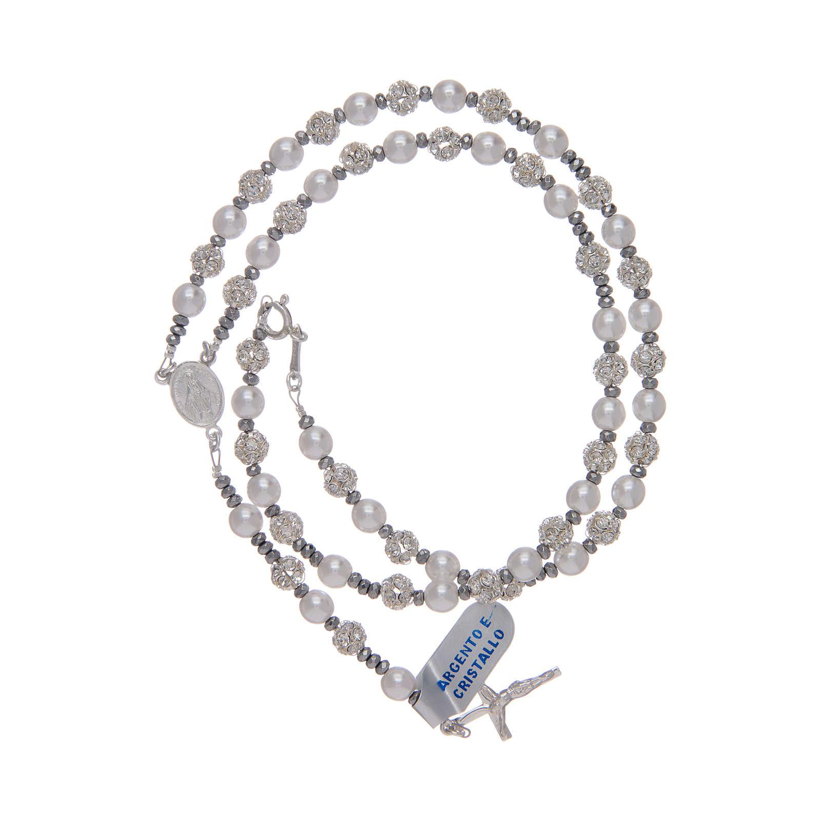 Rosario in argento 800 con strassball e perle 4