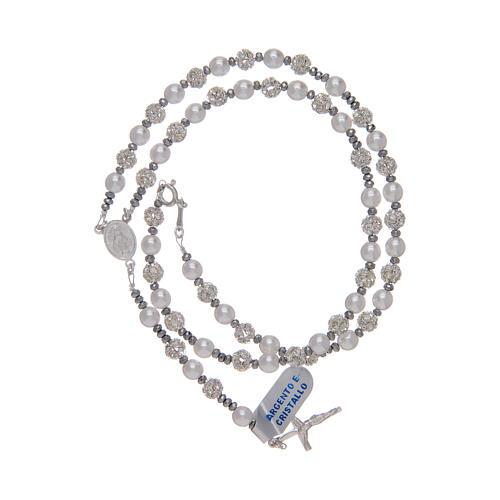 Rosario in argento 800 con strassball e perle 3