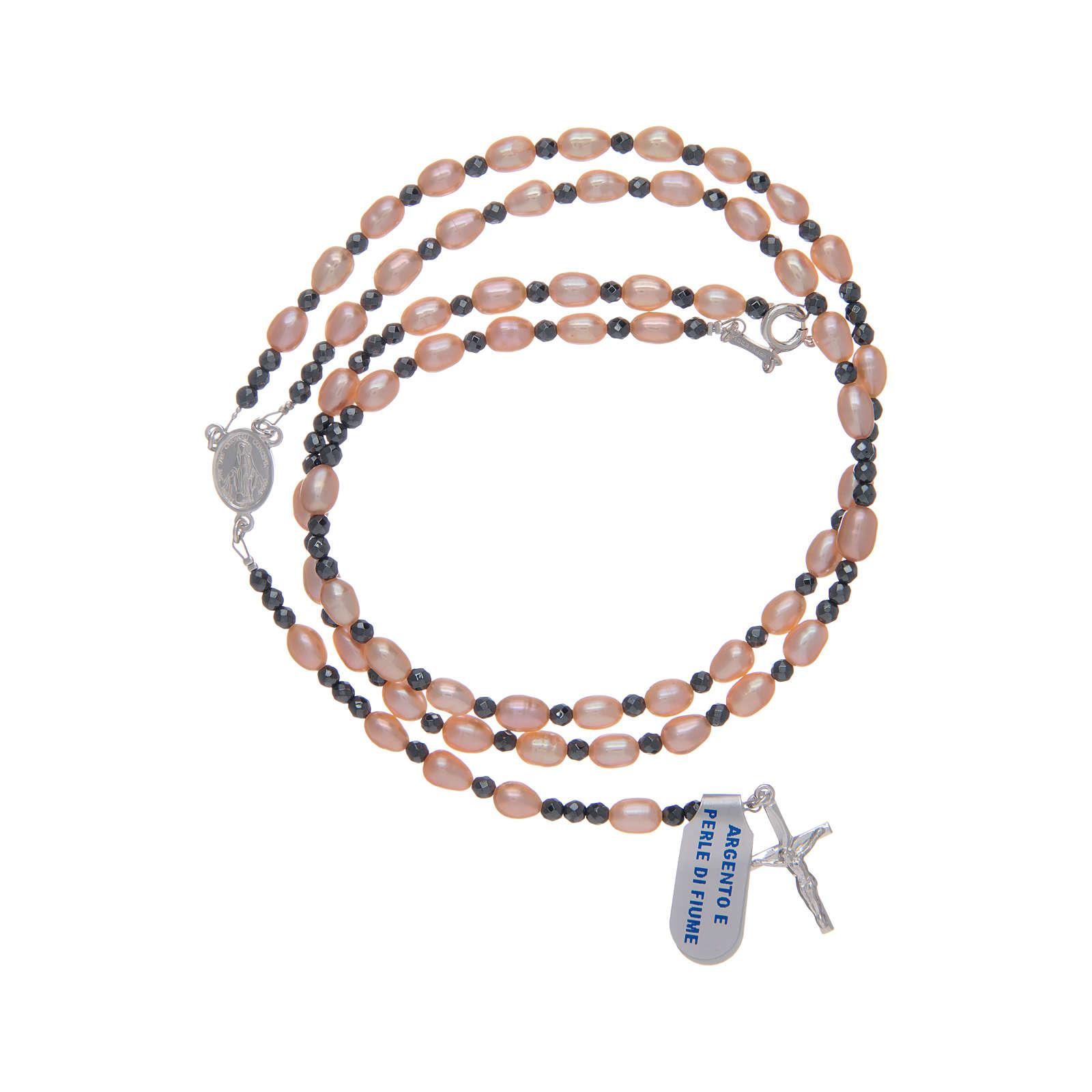Rosario argento 800 con perle di fiume rosa 4