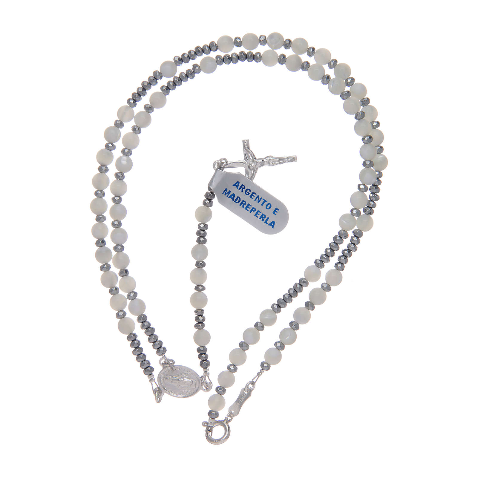 Rosary mother of pearl and 925 sterling silver 4