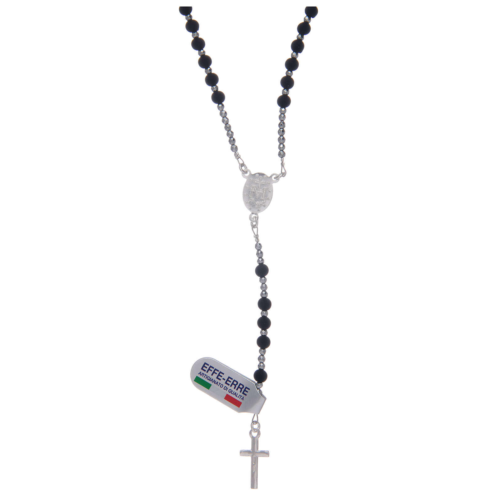 Rosary in 925 sterling silver with volcanic lava grains sized 4 mm 4