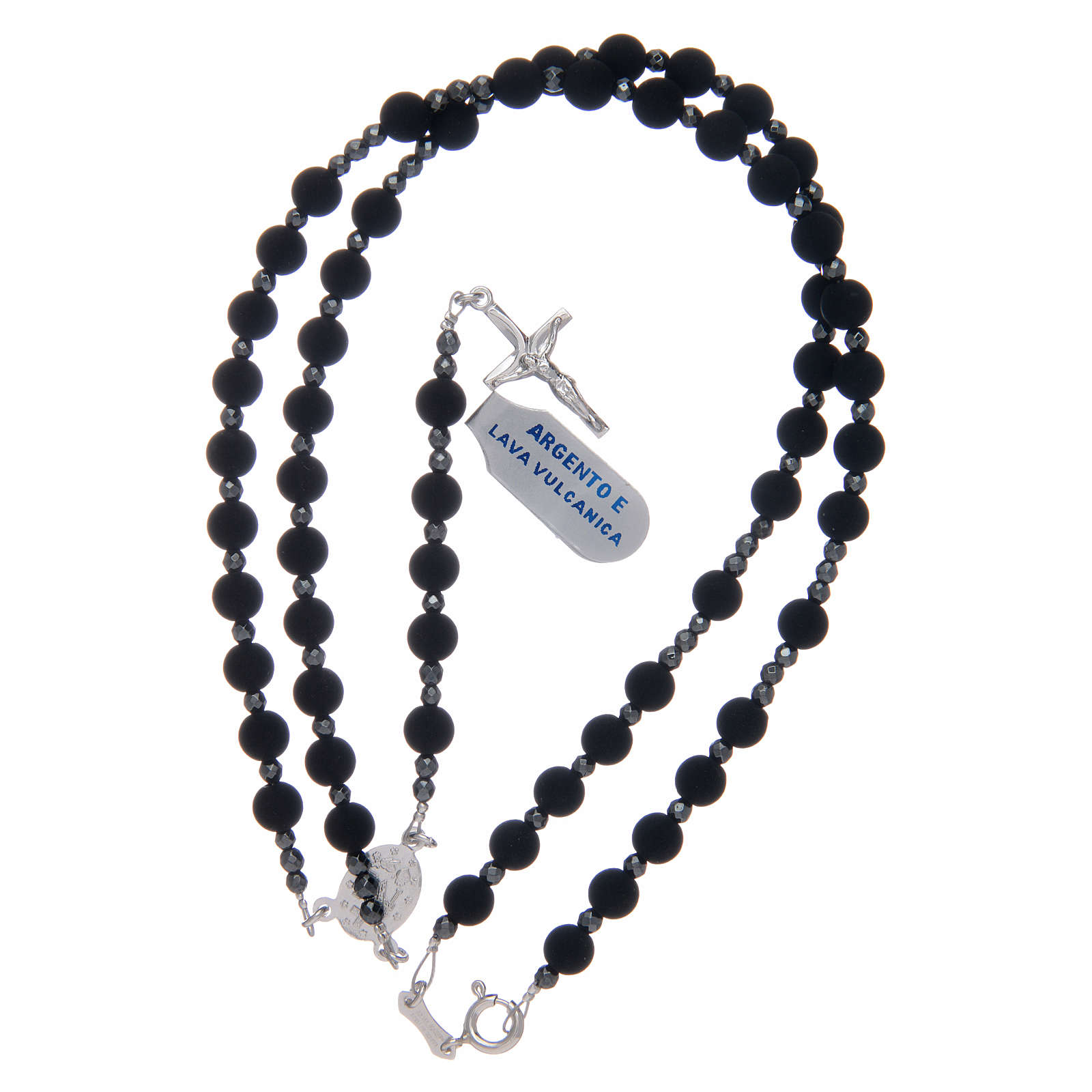 Rosary in 925 sterling silver with 6 mm volcanic lava grains 4