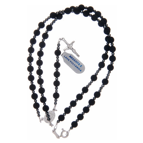 Rosary in 925 sterling silver with 6 mm volcanic lava grains 3