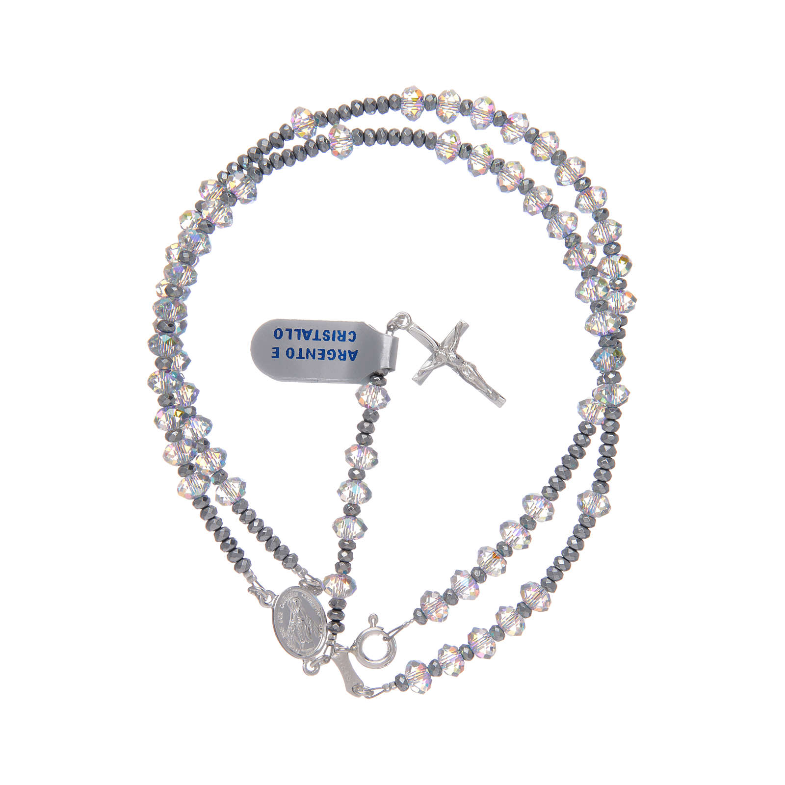 Rosary in 925 sterling silver with shiny transparent Swarovski beads 4