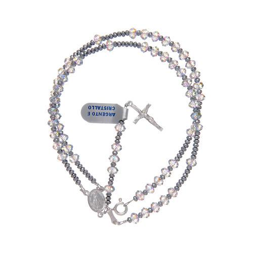 Rosario in argento 800 con Swarovski luminosi trasparenti 3