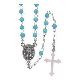 Classic rosary in silber with 4 mm light blue sphere s2