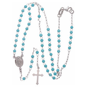 Classic rosary in silber with 4 mm light blue sphere s4