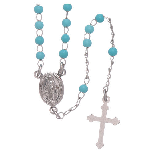 Classic rosary in silber with 4 mm light blue sphere 1