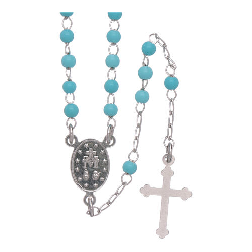 Classic rosary in silber with 4 mm light blue sphere 2