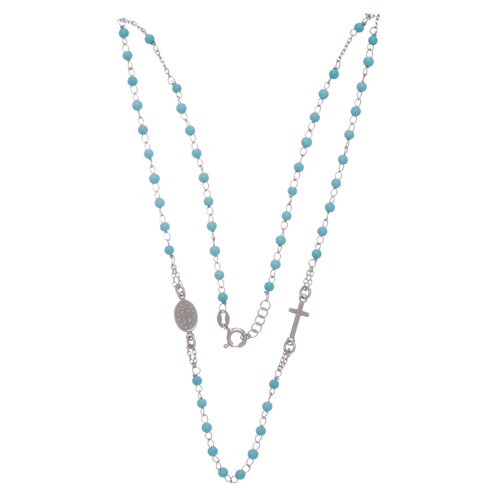 Rosary choker with light blue spheres 4 mm and silver chain 4