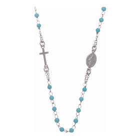 Rosary choker with light blue spheres 4 mm and silver chain s1