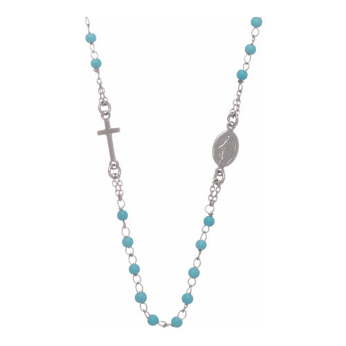 Rosary choker with light blue spheres 4 mm and silver chain 1