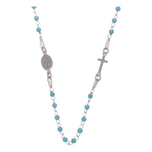Rosary choker with light blue spheres 4 mm and silver chain 2
