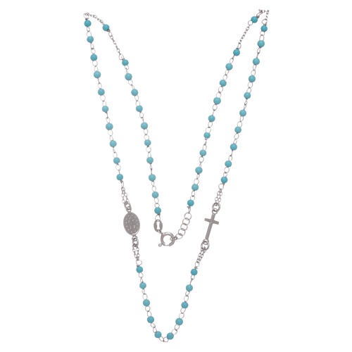 Rosary choker with light blue spheres 4 mm and silver chain 3