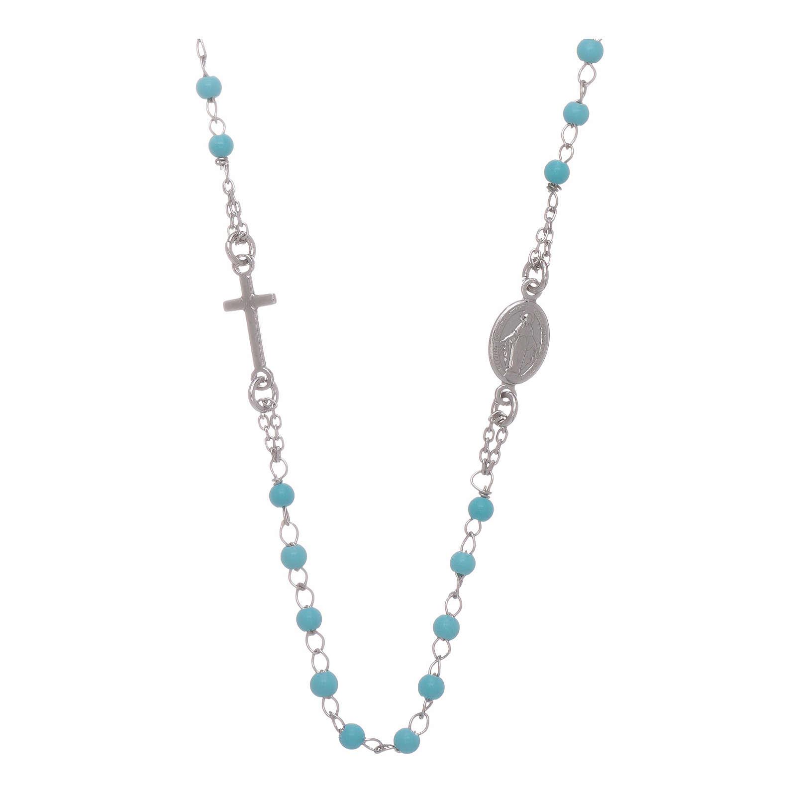 Rosario gargantilla esferas celestes 4 mm y cadena de silver 4