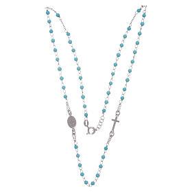 Rosario gargantilla esferas celestes 4 mm y cadena de silver s3