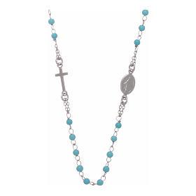 Terço gargantilha contas azuis 4 mm e corrente em prata s1