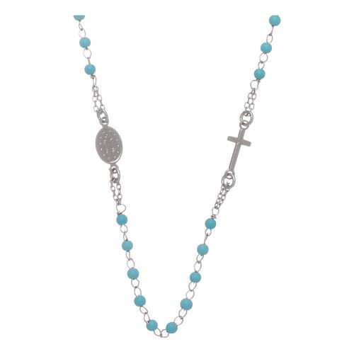 Terço gargantilha contas azuis 4 mm e corrente em prata 2