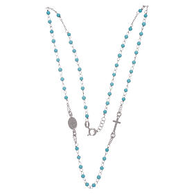 Rosary choker with light blue spheres 4 mm and silver chain s3