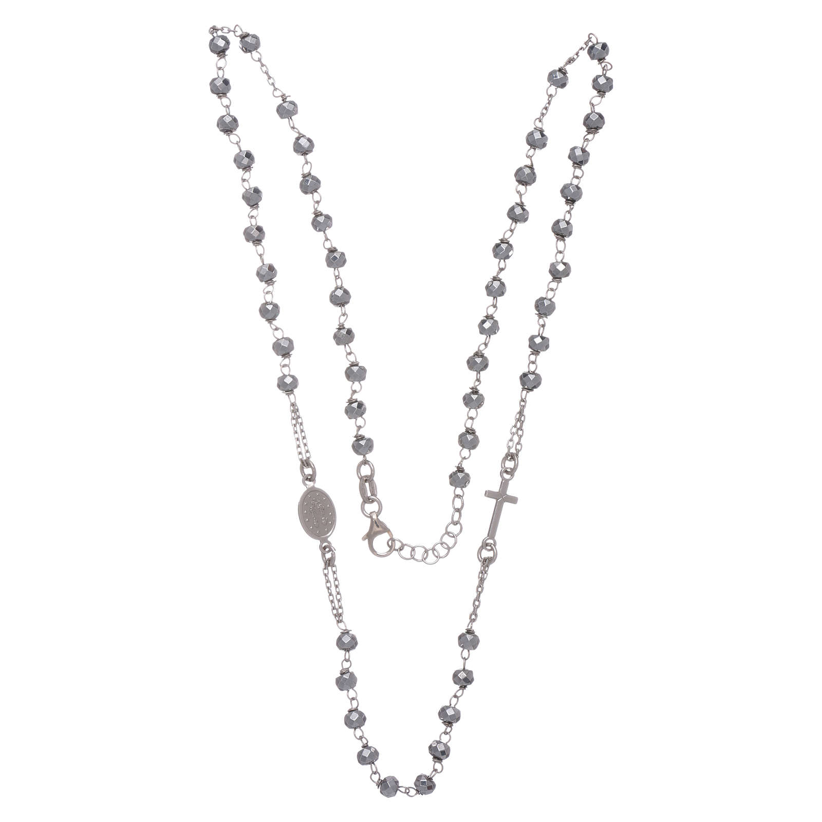 Rosary choker in 925 sterling silver with hematite spheres finished in rhodium 5 mm 4