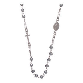 Rosary choker in 925 sterling silver with hematite spheres finished in rhodium 5 mm s1