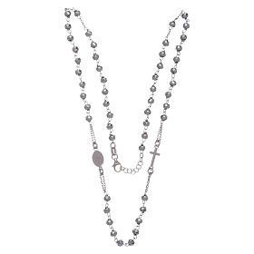 Rosary choker in 925 sterling silver with hematite spheres finished in rhodium 5 mm s3