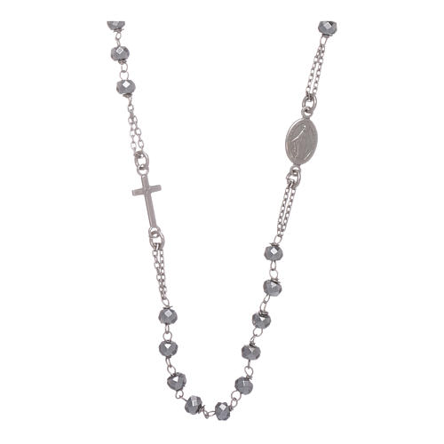 Rosary choker in 925 sterling silver with hematite spheres finished in rhodium 5 mm 1