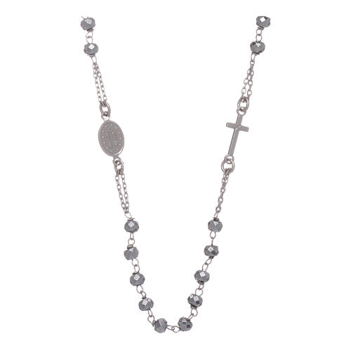 Rosary choker in 925 sterling silver with hematite spheres finished in rhodium 5 mm 2