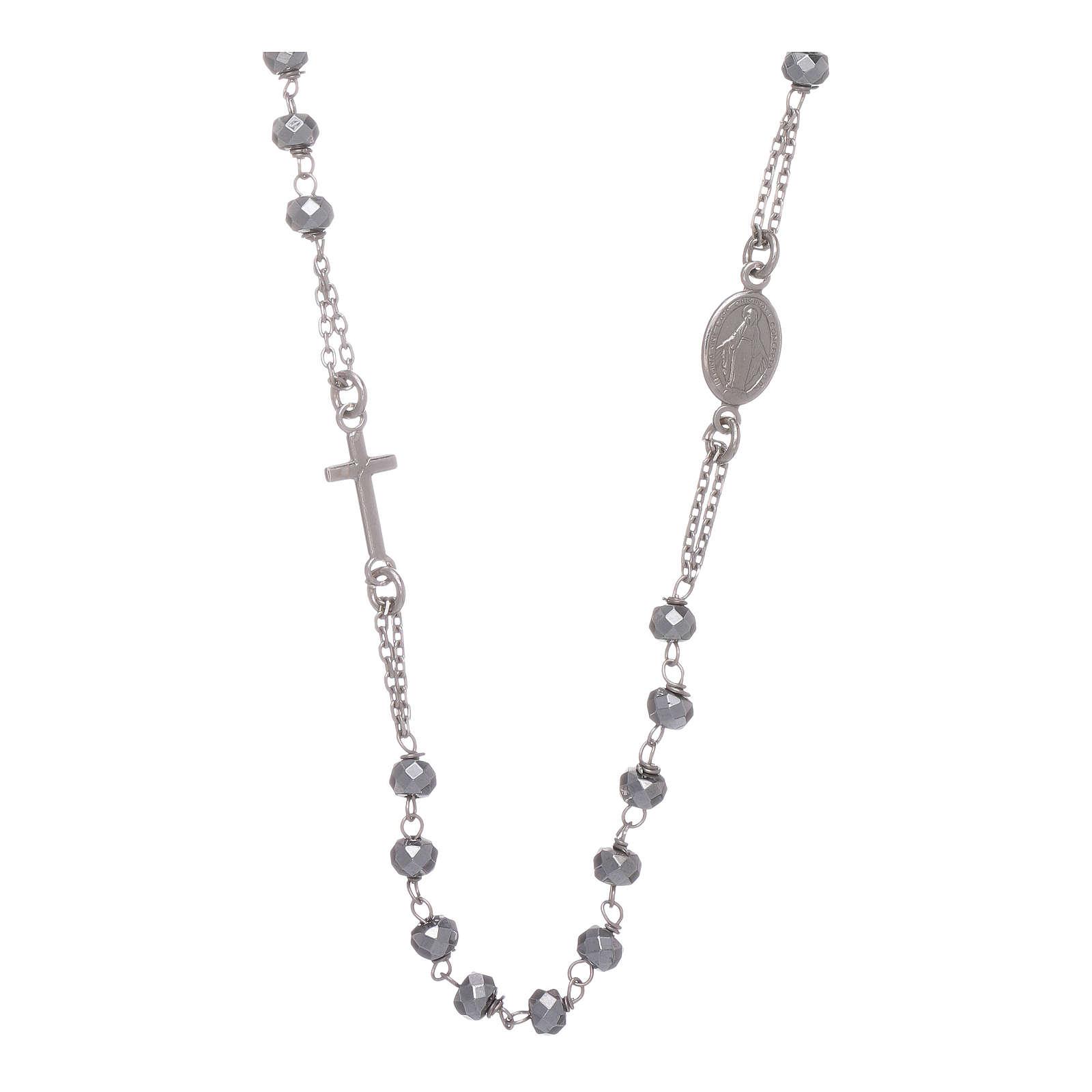 Rosario girocollo argento 925 colore silver sfera ematite rodio 5 mm 4