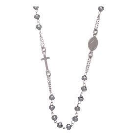 Rosario girocollo argento 925 colore silver sfera ematite rodio 5 mm s1